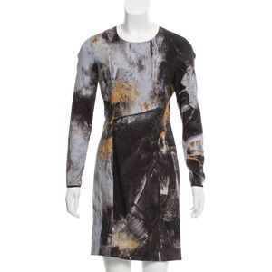 Helmut Lang Long Sleeve Silk Printed Dress Sz 4